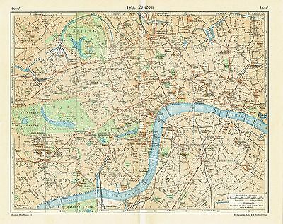 London antique plan 1929 - England map Thames Tower Chelsea Westminster Big Ban