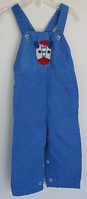 VINTAGE 1970s Blue Cordoroy Overalls 9-12 Months with cute animal face