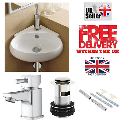 Compact Small Cloakroom Oval Corner Basin Sink Wall Hung + Free Tap & Waste Set