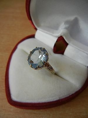 Vintage USSR RING SILVER GOLD PLATED 875 Star Size 9 Blue STONE 2.5 g