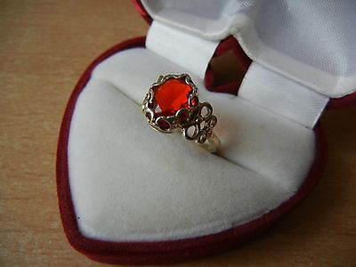 Vintage USSR RING SILVER GOLD PLATED 875 Star Size 6.5 RED STONE 2 g
