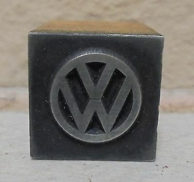 Vintage VW Bus Logo Metal & Wood Letterpress Printing Block Type