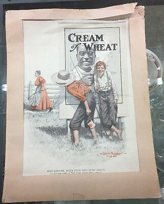 Cream Of Wheat Ad By Leslie Thrasher-12-Playing Hookey Antique Colored Paper Ad