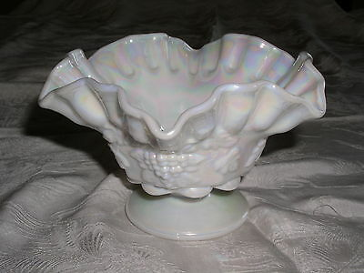 Westmoreland Milk Glass Iridescent Mother of Pearl Paneled Grape Open Candy Dish