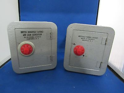 Wonderful Pair of  Vintage Metal Bank -Combination Safes