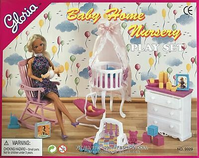 Gloria Baby Home Nursery Play Set Barbie Size Doll Furniture Accessories 9929