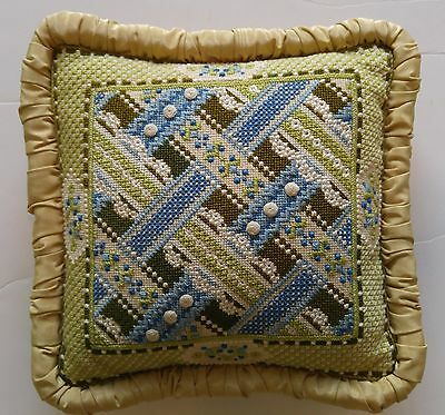 """Finished Needlepoint Pillow FRENCH LACE RIBBONS Green Blue Joan Gantt 12""""x12""""x3"""""""