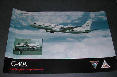 Us Navy Vr- Boeing C-40 Clipper Factory Promotional Aviation Art Poster Print