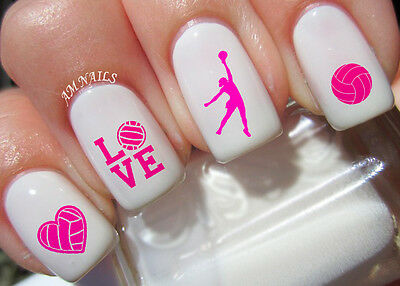 Volleyball Nail Art Stickers Transfers Decals Set of 68