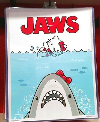 Universal Studios Hello Kitty Jaws Shark Movie Poster Print