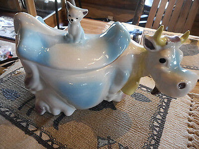 Brush McCoy Pottery 1950 W10 Rare Blue and White Cow Cookie Jar W 10