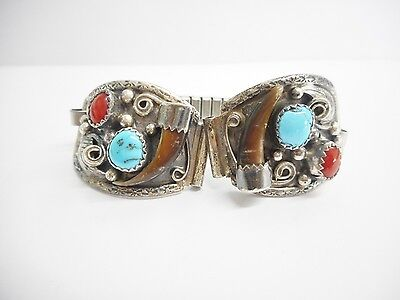 MUST SEE Native American Sterling Silver Turquoise Claw Watch Tips #3122