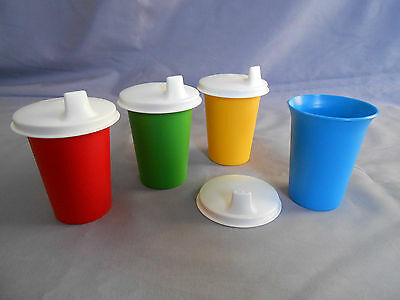 Tupperware 4 bell tumblers cups w domed white sipper seals tippy sippy lids NEW