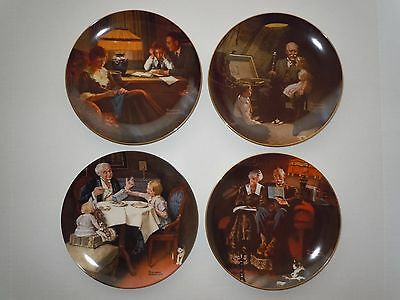 Set of 4 Collectible Vintage Norman Rockwell Plate / Dish
