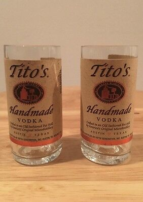 Titos Vodka Hand Cut Upcycled Glasses (X2)