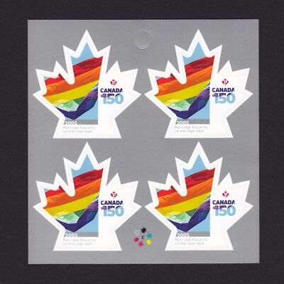 ca. CANADA 150 Celebration, MARRIAGE EQUALITY right bklt page of 4 sts, MNH 2017