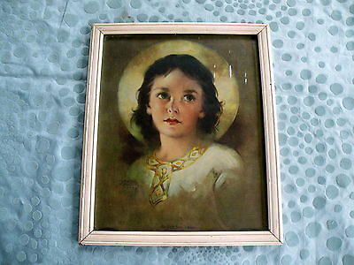 Light of the World The Child Jesus Framed Picture Lithograph By Florence Kroger