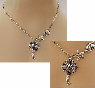Silver Rose Compass & Mermaid Pendant Necklace Jewelry Handmade NEW Chain