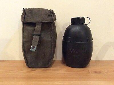 Vintage 1971 Issue Military Canteen / Water Bottle With Canvas Holder Case