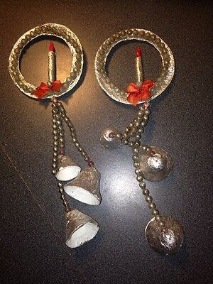 Vintage Set Of Foil Wrapped Wreaths With Mercury Beads And Bells With Candle