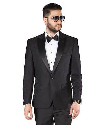Black Paisley Peak Lapel Jacket Only Tuxedo Slim Fit 1 Button Blazer By AZAR