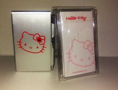RARE LIMITED Sanrio 1976 2008 Hello Kitty Silver Mini Memo Case 2 Notepads & Pen