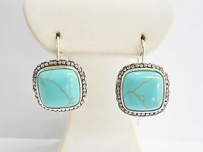 Sterling Silver Southwestern Turquoise French Wire Earrings #3127