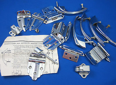 Mid Century Modern Amerock Hardware Lot of 5 Chrome Drawer Pulls & 8 Hinges