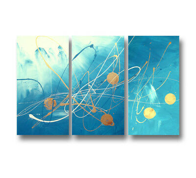 NEW 3 Piece Abstract Canvas Painting in Turquoise and Gold