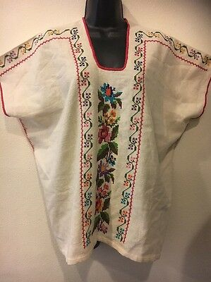 Beige Michoacan Blouse Hand Embroidered & Woven Mexico Frida Hippie Boho XL