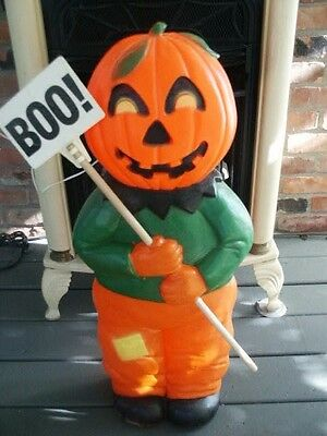 Halloween Blow Mold Pumpkin Scarecrow MAN BOO Sign Lighted Don Featherstone 31*
