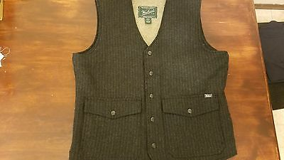 Woolrich mens Teton wool snap front 5 pocket vest SZ M black