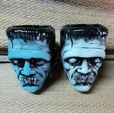 "New Cursed Tikis ""Big Franky"" shrunken head Shot glass set Monster Voodoo Tiki"