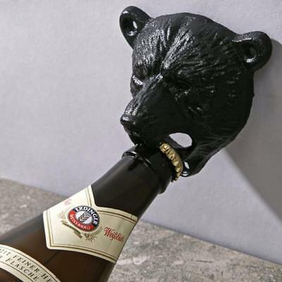 Cast Iron Bear Bottle Opener Wall Mounted Kitchen Pub Bar Beer Opener Bars FW