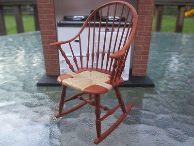 Dollhouse Miniatures ~ William Clinger Rocking Chair w/ Cane Seat, Windsor Style