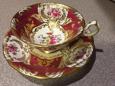 Hand Painted Deep Red Royal Chelsea W/Gold & floral Tea cup & saucer England