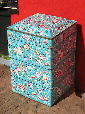A1404 Antique Chinese Canton Hand Painted Floral Enameled Stacking Box