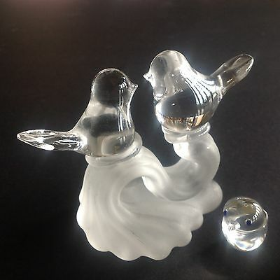 Clear GlassFigurine Love Birds DOVES on a Frosted branch +one Clear Dove
