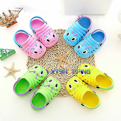 Kids Toddler Cute Caterpillar Cartoon Clog Water Beach Sandal Slipper Sole Shoes