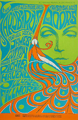 SIGNED Fillmore Poster BG-75 BG75 the DOORS yardbirds Bonnie MacLean FD BG AOR