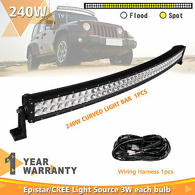 42Inch 240W Curved Led Light Bar Fog Lamp Free High Prower Wiring Kit12/24V IP68