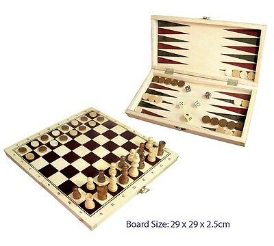 Wooden Toy '3 in One' Chess, Checkers, Backgammon Game Set