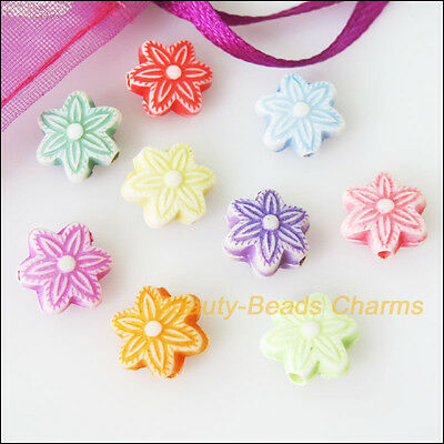 50 New Charms Acrylic Plastic Tiny Snowflake Flower Spacer Beads Mixed 10mm