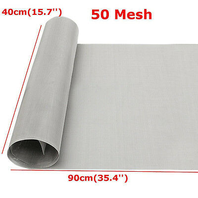 304 Stainless Steel Silver 50 Mesh Filtration Woven Wire Cloth Screen 40x90cm