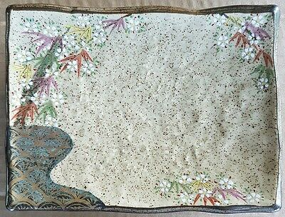 Authentic Asian Japanese Dish Cherry Blossom Hand Made Painted Stamped