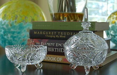 Cut Crystal Lidded Etched Candy Dish & Saw Tooth Edge Candy Dish Pair