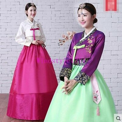 Womens Hanbok Dress Custom Korean Traditional Hanbok High Waist Ancient Court Sz