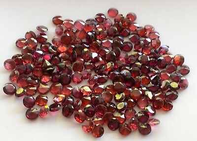 50 Pc Round Cut Shape Natural  Garnet 5.2Mm To 5.4Mm Loose Gemstone
