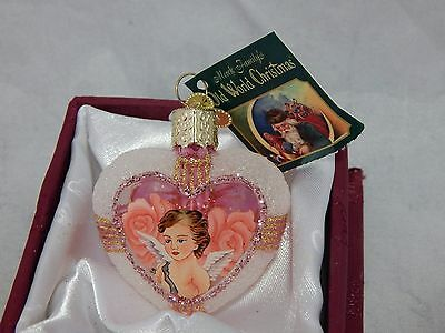 Old World Christmas Glass Heart Angel Ornament