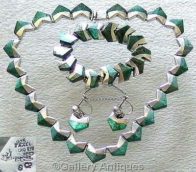 VINTAGE Mexican SILVER MALACHITE Taxco NECKLACE BRACELET screw back EARRINGS set